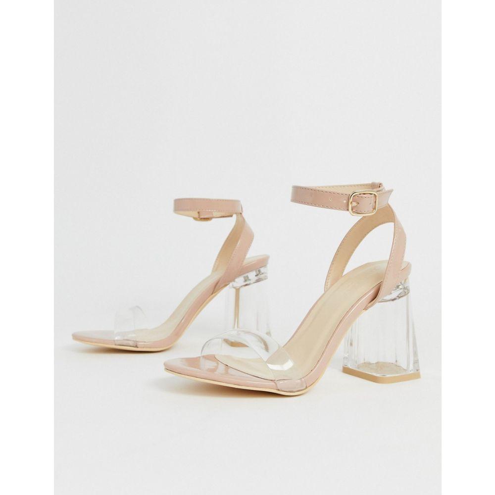 トリュフコレクション Truffle Collection レディース サンダル・ミュール シューズ・靴【mid clear heeled sandals in beige patent】Beige patent