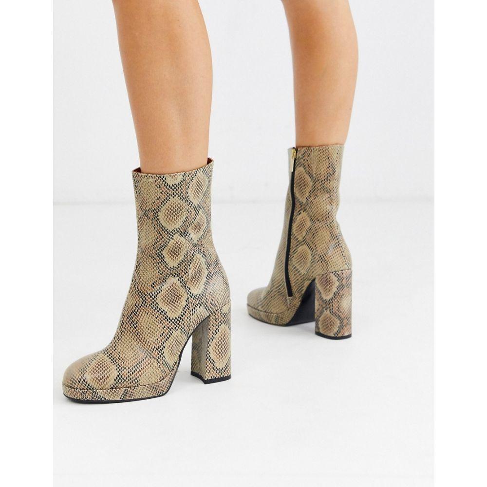 リバーアイランド River Island レディース ブーツ シューズ・靴【platform heeled boots in snake】Brown print