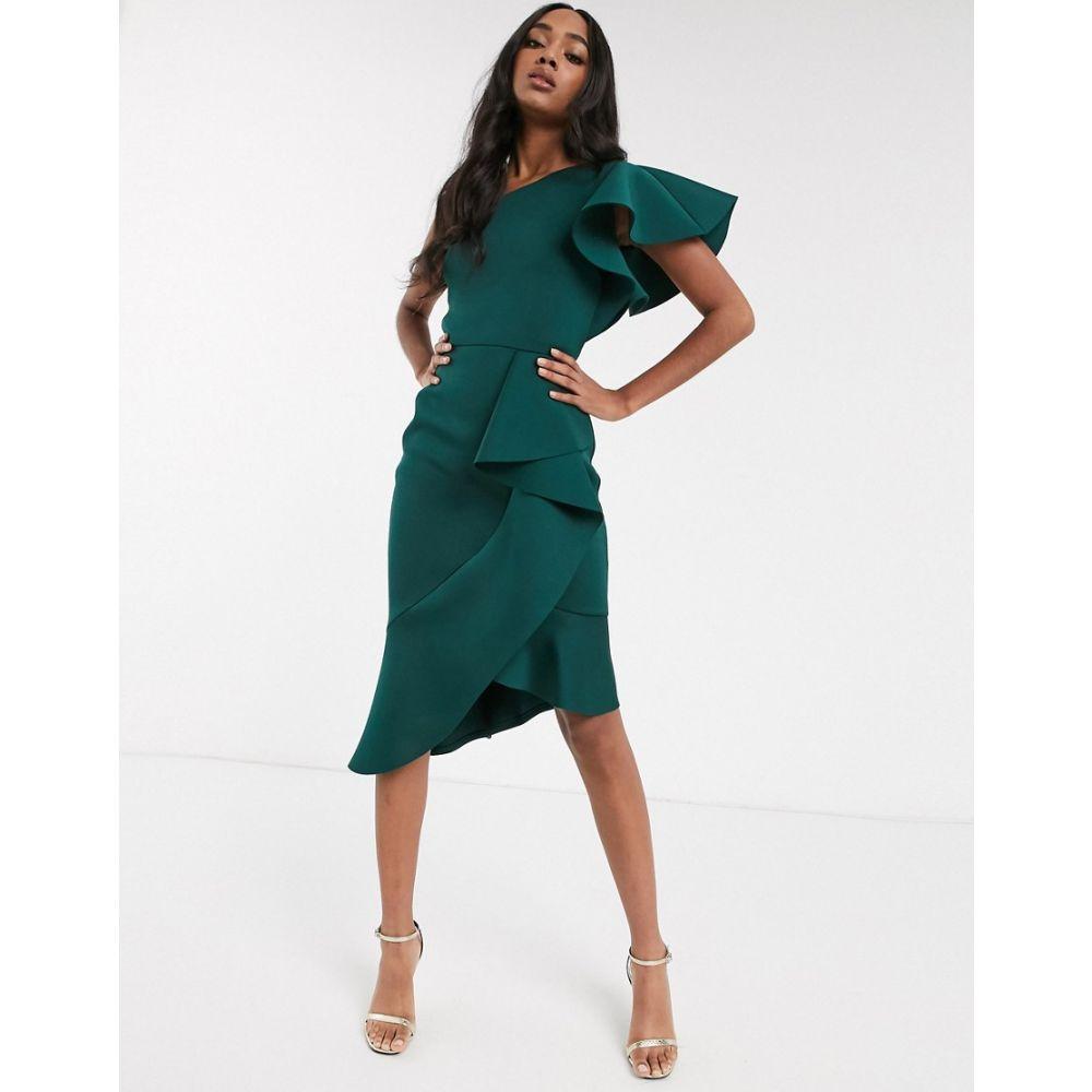 トゥルーヴァイオレット True Violet レディース ワンピース ワンピース・ドレス【exclusive one shoulder asymmetrical midi dress in forest green】Green