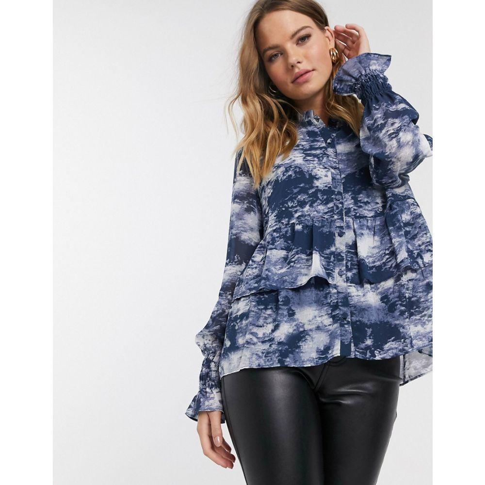 ワイ エー エス Y.A.S レディース ブラウス・シャツ トップス【blouse with ruffle hem】Navy
