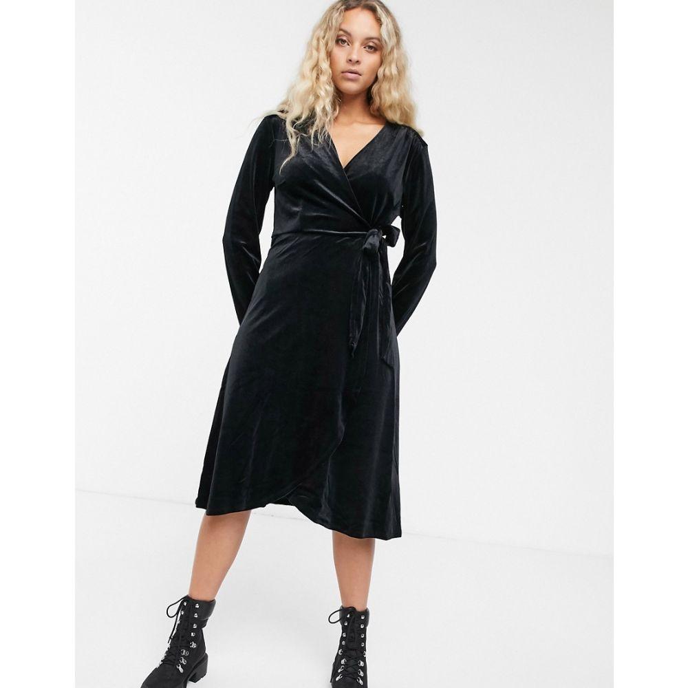 モンキー Monki レディース ワンピース ラップドレス ワンピース・ドレス【velvet wrap dress】Black