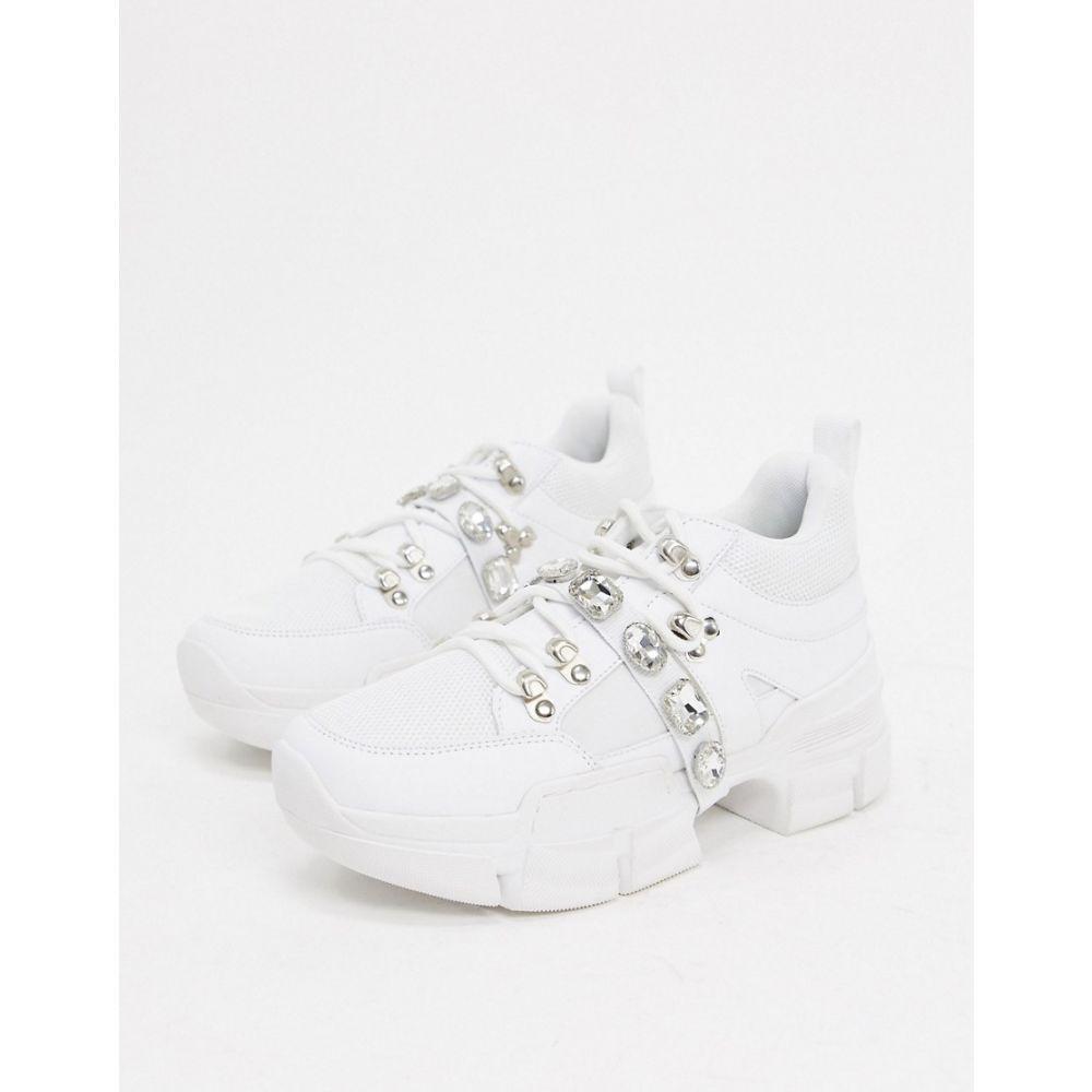トリュフコレクション Truffle Collection レディース スニーカー チャンキーヒール シューズ・靴【jeweled chunky trainer in white】White pu