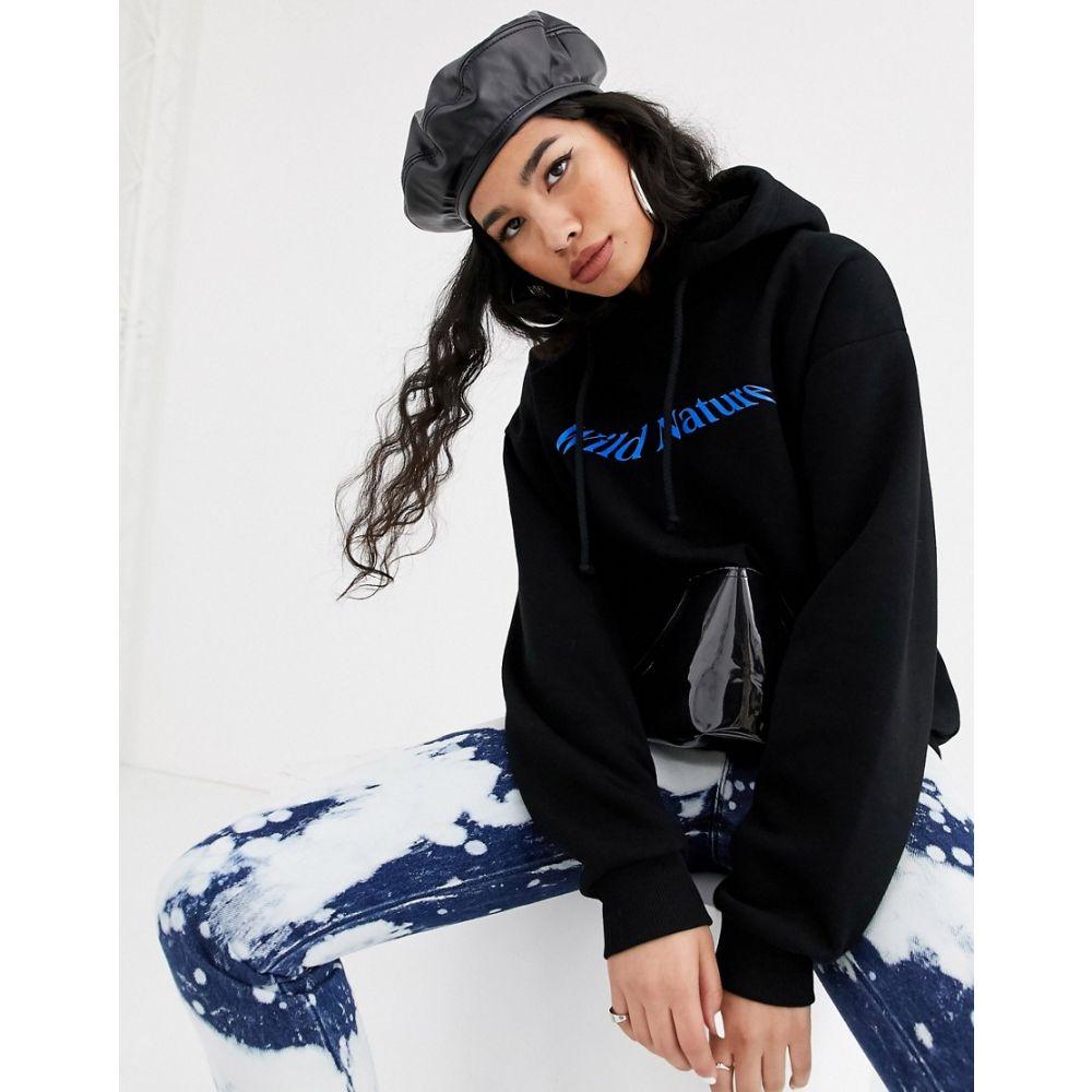 ローカルヒーローズ Local Heroes レディース パーカー トップス【relaxed hoodie with wild nature graphic and contrast pocket】Black