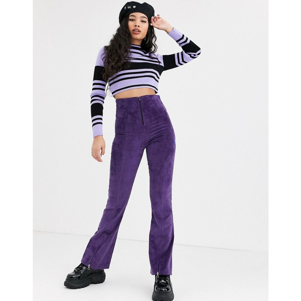 ローカルヒーローズ Local Heroes レディース ボトムス・パンツ 【high waist corduroy flares with zip detail in purple】Purple