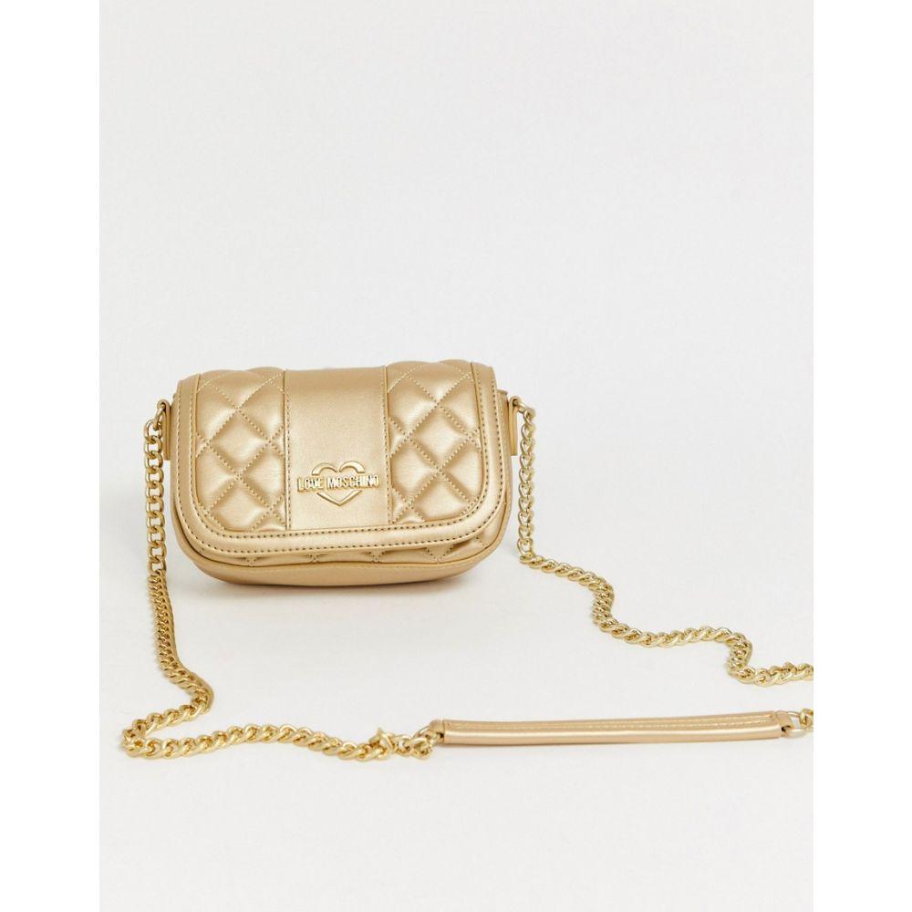 モスキーノ Love Moschino レディース ショルダーバッグ バッグ【metallic quited faux leather cross body bag】Gold