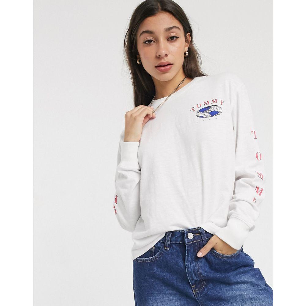 トミー ジーンズ Tommy Jeans レディース 長袖Tシャツ トップス【long sleeve globe t-shirt】Classic white