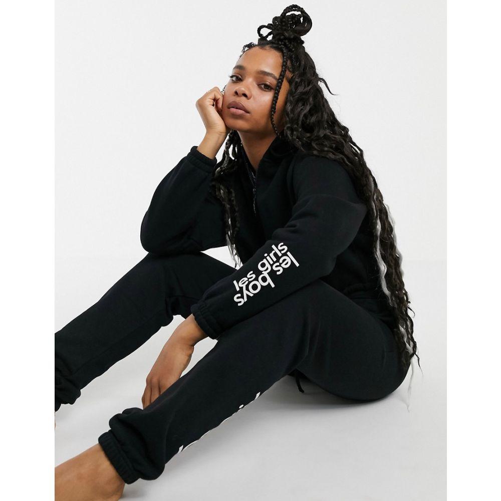 レスガールズレスボーイズ Les Girls Les Boys レディース パーカー トップス【reflective logo cropped hoodie in black】Black