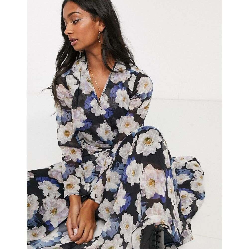 ロストインク Lost Ink レディース ワンピース ラップドレス ワンピース・ドレス【maxi wrap dress with cut out detail in oversized floral print】Blue floral