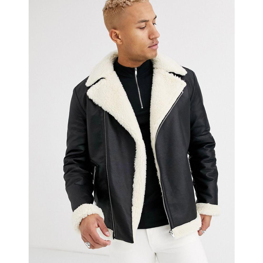 エイソス ASOS DESIGN メンズ レザージャケット ライダース アウター【oversized biker jacket in black faux leather】Black