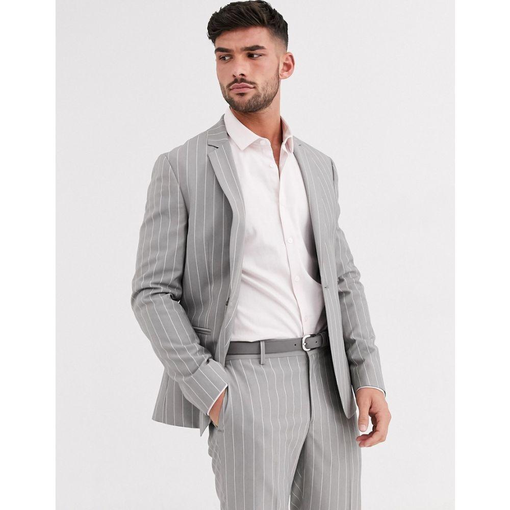 エイソス ASOS DESIGN メンズ スーツ・ジャケット アウター【skinny suit jacket in soft grey pinstripe】Grey