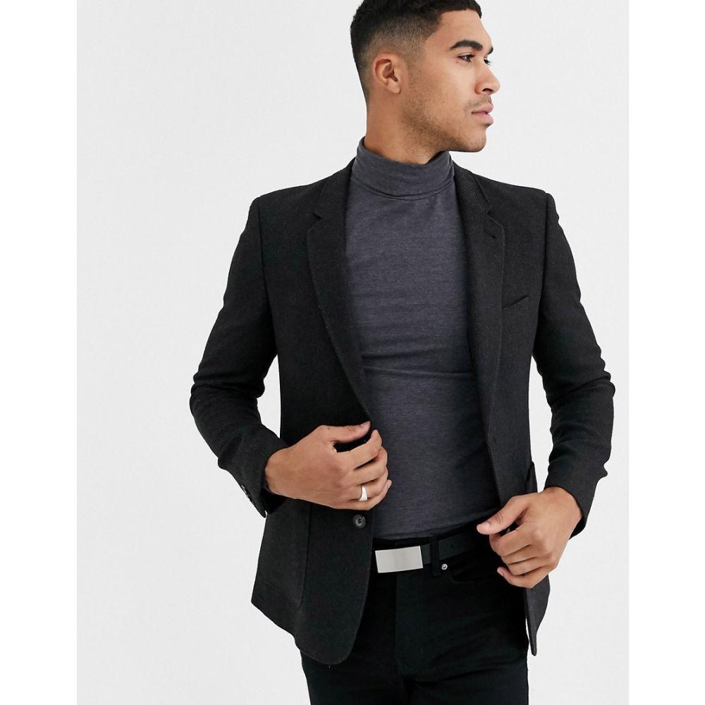 エイソス ASOS DESIGN メンズ スーツ・ジャケット アウター【super skinny blazer in charcoal wool mix twill】Charcoal