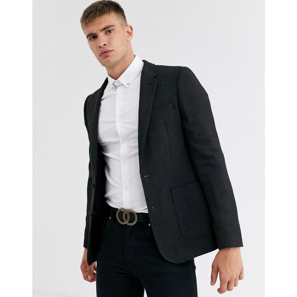 エイソス ASOS DESIGN メンズ スーツ・ジャケット アウター【skinny blazer in charcoal wool mix】Charcoal