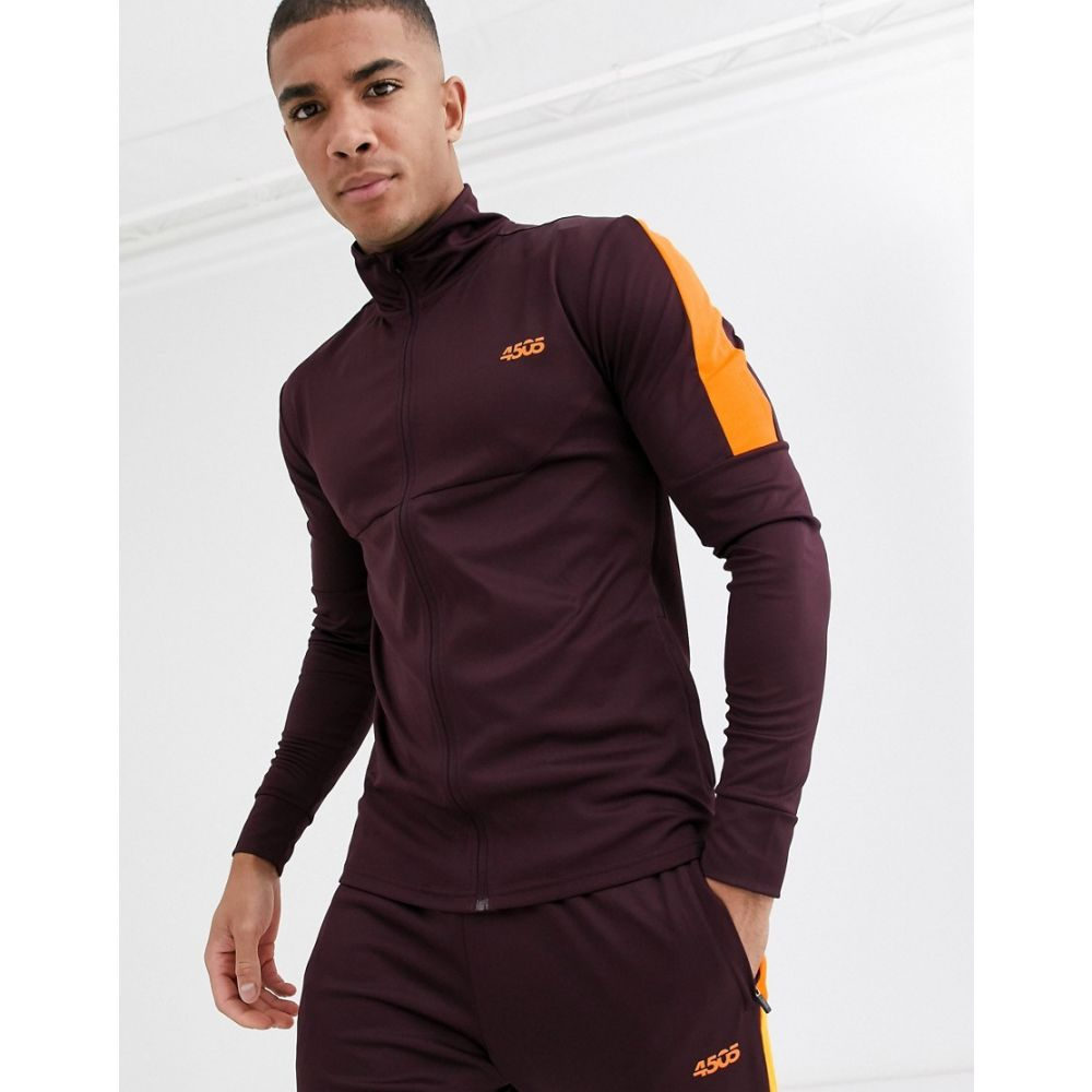 エイソス ASOS 4505 メンズ スウェット・トレーナー トップス【muscle training track top with contrast panel】Burgundy/neon orange