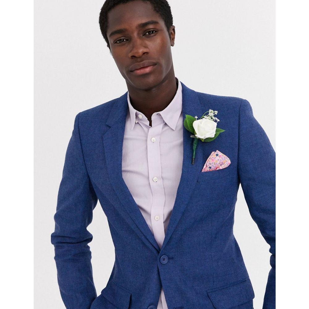 エイソス ASOS DESIGN メンズ スーツ・ジャケット アウター【wedding skinny suit jacket in blue marl cotton and linen blend】Blue