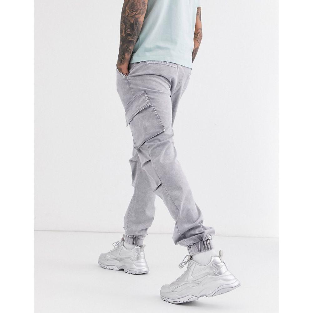 エイソス ASOS DESIGN メンズ カーゴパンツ ボトムス・パンツ【slim cargo trousers with sulphur wash】Grey