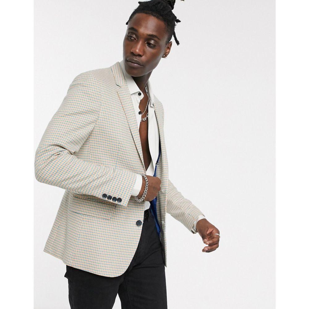 エイソス ASOS DESIGN メンズ スーツ・ジャケット アウター【wedding skinny blazer in yellow and blue microcheck】Multi