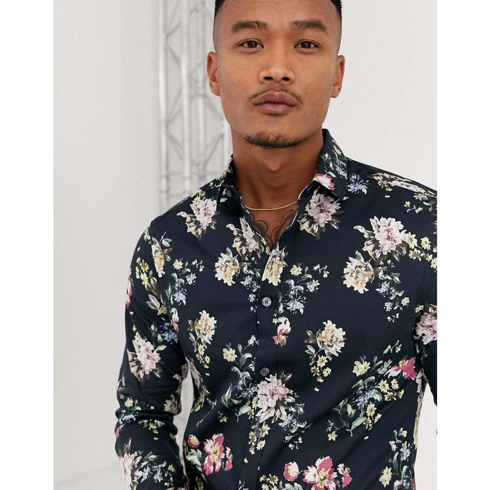 エイソス ASOS DESIGN メンズ シャツ トップス【skinny stretch sateen floral shirt in black】Black