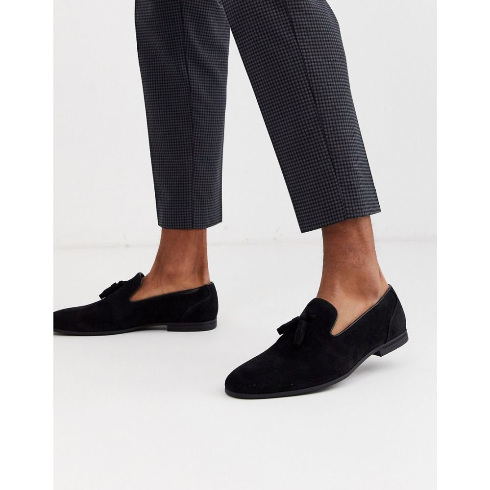 エイソス ASOS DESIGN メンズ ローファー シューズ・靴【tassel loafers in black faux suede】Black