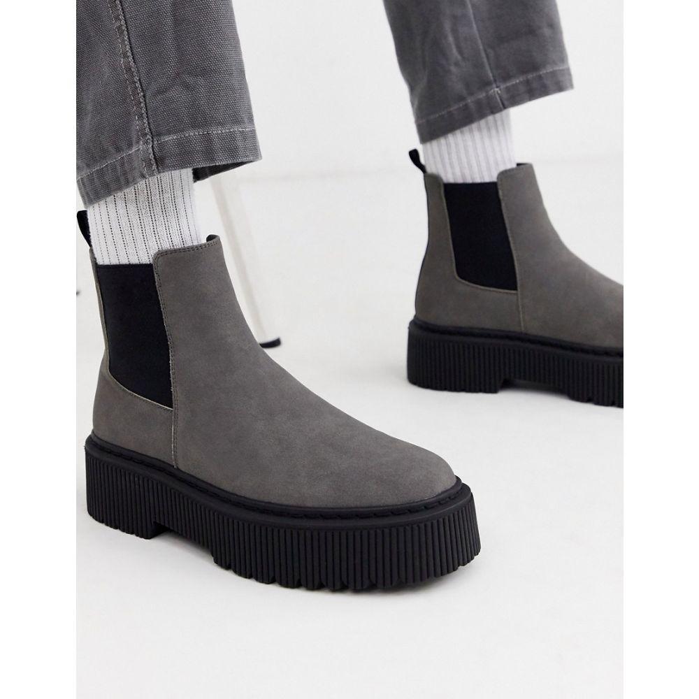 エイソス ASOS DESIGN メンズ ブーツ チェルシーブーツ シューズ・靴【chelsea boots in grey faux suede with chunky sole】Grey