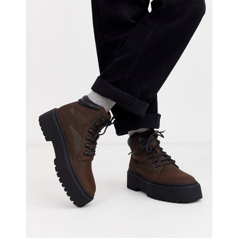 エイソス ASOS DESIGN メンズ ブーツ レースアップブーツ シューズ・靴【lace up boot in brown faux leather with chunky sole】Brown