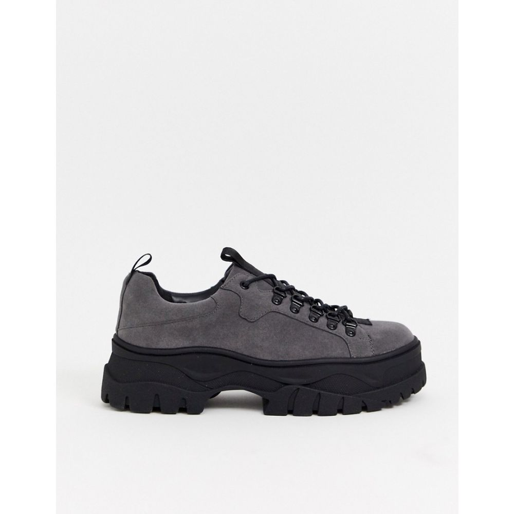 エイソス ASOS DESIGN メンズ シューズ・靴lace up shoes in grey faux suede with chunky sole GreyuOkXiPZT