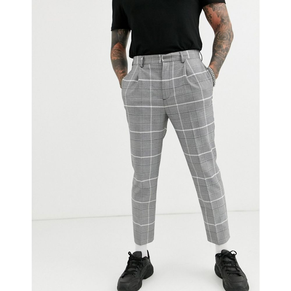 エイソス ASOS DESIGN メンズ ボトムス・パンツ 【smart tapered trousers in oversized grey check print】Grey