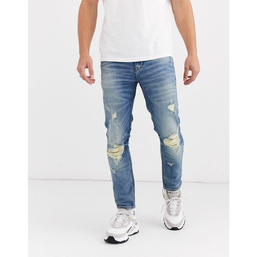 エイソス ASOS DESIGN メンズ ジーンズ・デニム ボトムス・パンツ【cropped skinny jeans in mid blue with heavy rips】Mid wash blue