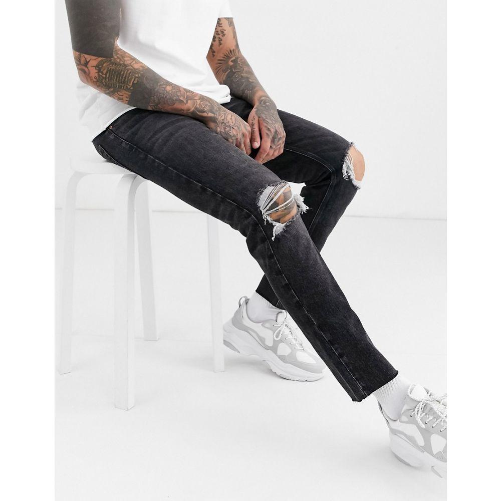 エイソス ASOS DESIGN メンズ ジーンズ・デニム ボトムス・パンツ【cropped skinny jeans in washed black with raw hem and knee rips】Washed black