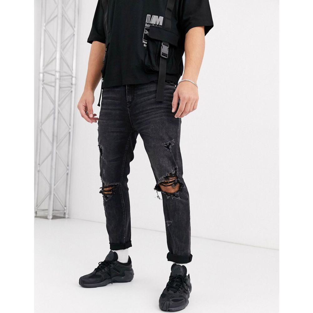エイソス ASOS DESIGN メンズ ジーンズ・デニム ボトムス・パンツ【carrot fit jeans in washed black with heavy rips】Washed black
