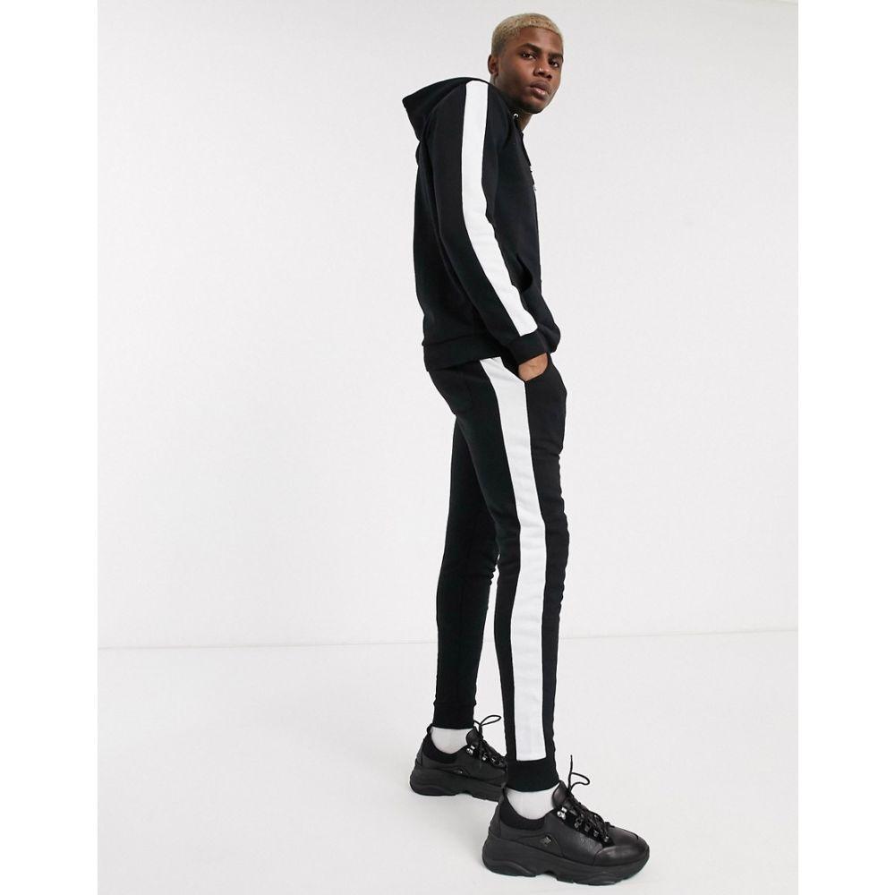 エイソス ASOS DESIGN メンズ ジャージ アウター【tracksuit with hoodie & side stripe in black】Black