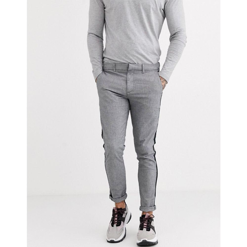 リバーアイランド River Island メンズ スキニー・スリム ボトムス・パンツ【skinny smart trousers in grey stripe】Grey