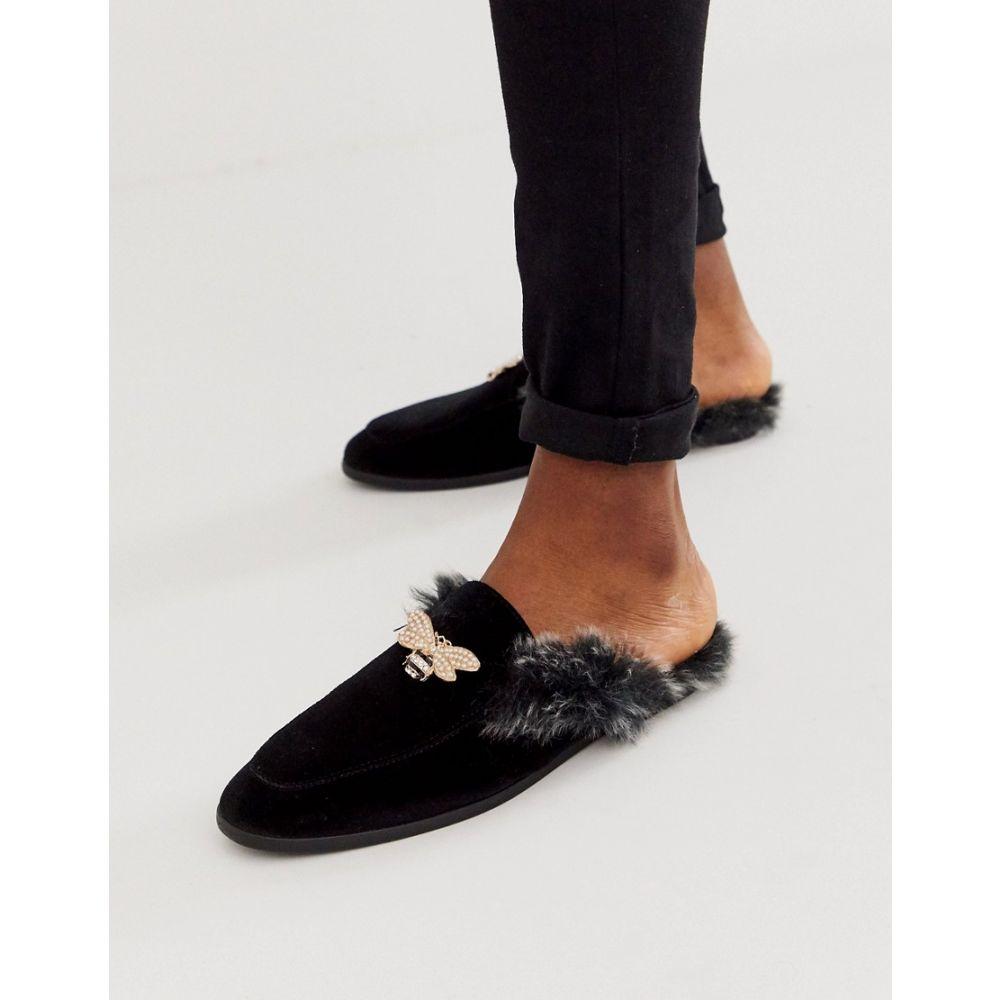 エイソス ASOS DESIGN メンズ ローファー シューズ・靴【backless mule loafer in black velvet with faux fur insock and hardware detail】Black