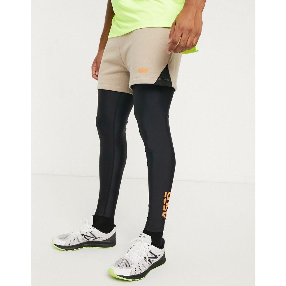 エイソス ASOS 4505 メンズ タイツ・スパッツ インナー・下着【2 in 1 shorts and leggings with belt detail】Oatmeal/black