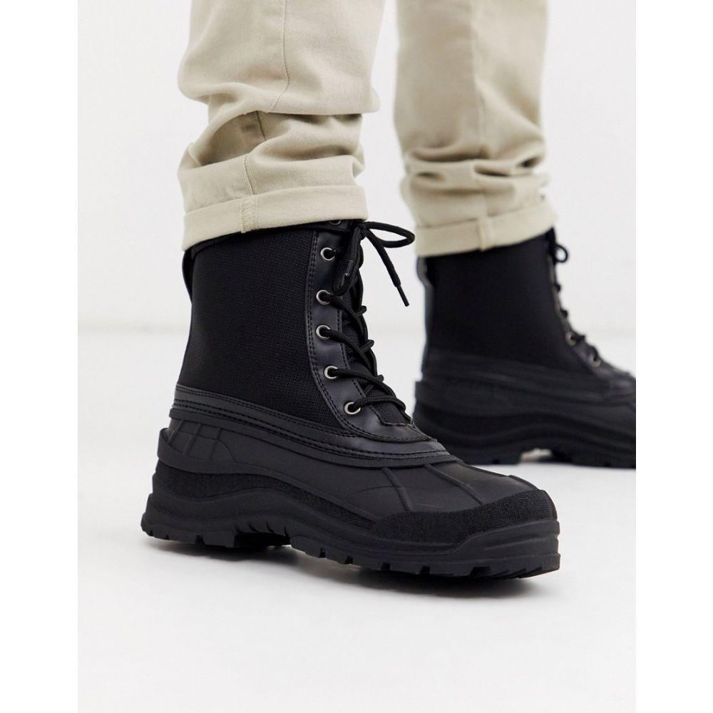 エイソス ASOS DESIGN メンズ レインシューズ・長靴 レースアップブーツ シューズ・靴【lace up rain boots in black with black sole】Black