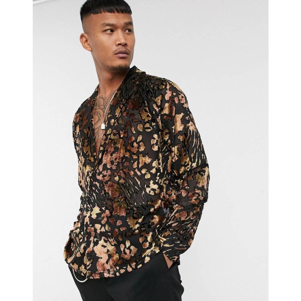エイソス ASOS EDITION メンズ シャツ トップス【deep revere burnout shirt in animal print】Black