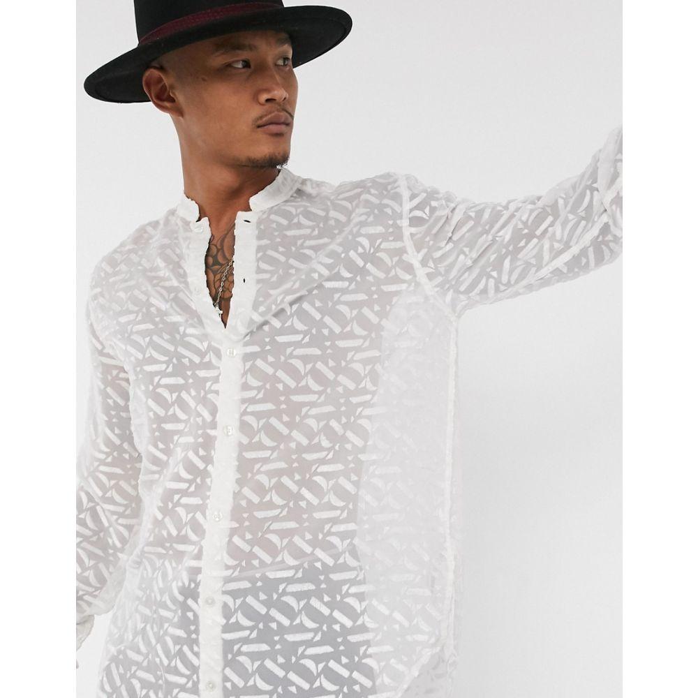 エイソス ASOS EDITION メンズ シャツ ロング トップス【longline shirt in logo devore print】Green