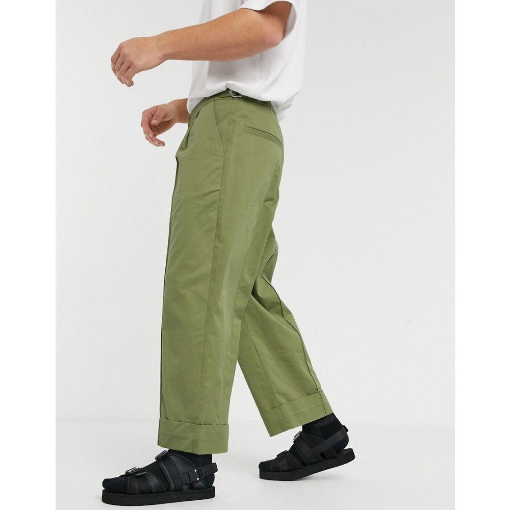 エイソス ASOS WHITE メンズ ボトムス・パンツ ワイドパンツ【wide leg trousers with front crease in green】Guacamole