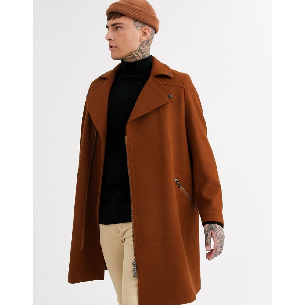 エイソス ASOS DESIGN メンズ コート アウター【wool mix overcoat in tobacco with biker detailing】Tobacco