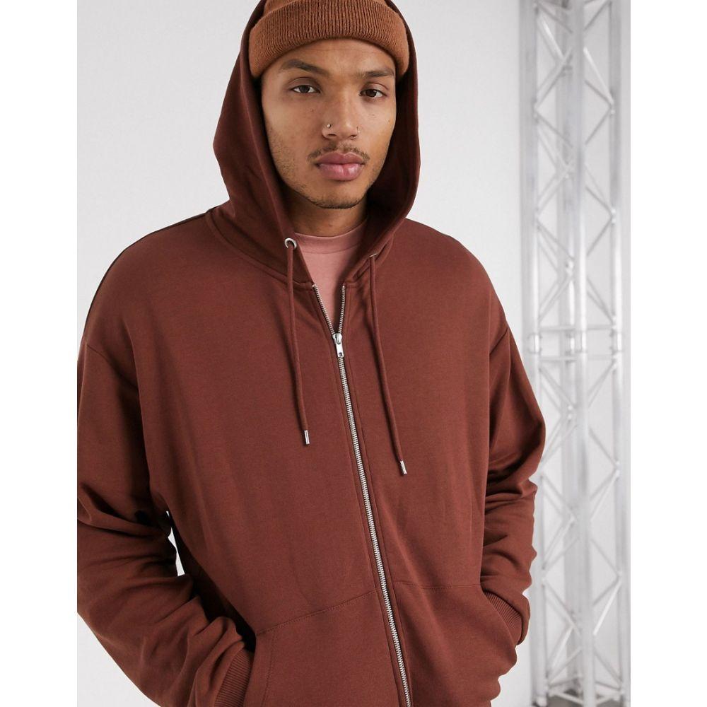 エイソス ASOS DESIGN メンズ パーカー トップス【oversized zip up hoodie in brown】Cinnamon