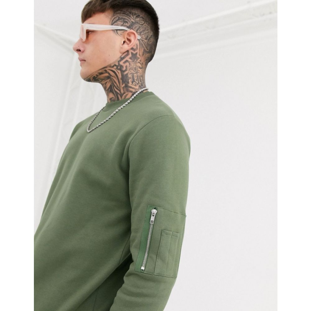 エイソス ASOS DESIGN メンズ スウェット・トレーナー トップス【sweatshirt in khaki with MA1 pocket】Four leaf clover