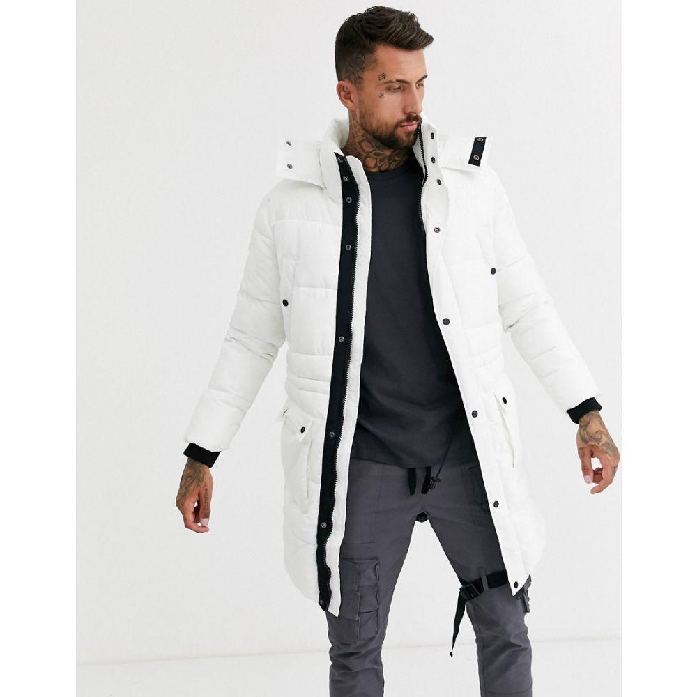 ブーフー boohooMAN メンズ ダウン・中綿ジャケット ロング アウター【longline puffer jacket in white】White