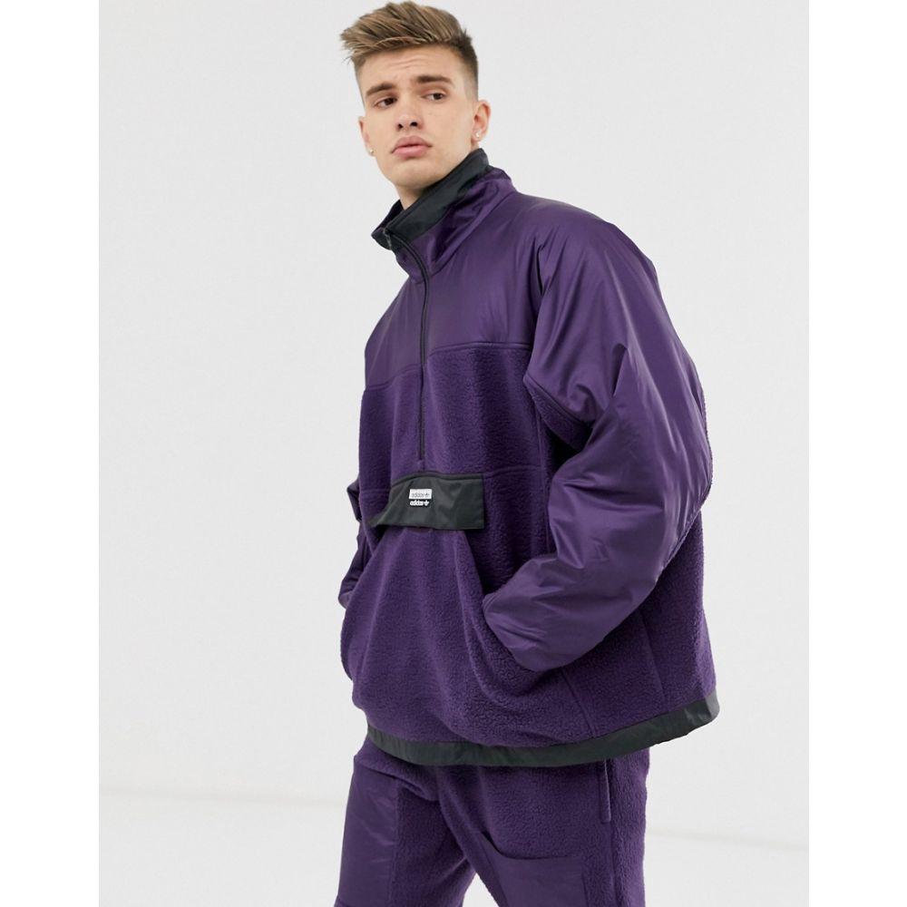 アディダス adidas Originals メンズ フリース トップス【ryv fleece half zip sweatshirt with central logo】Purple