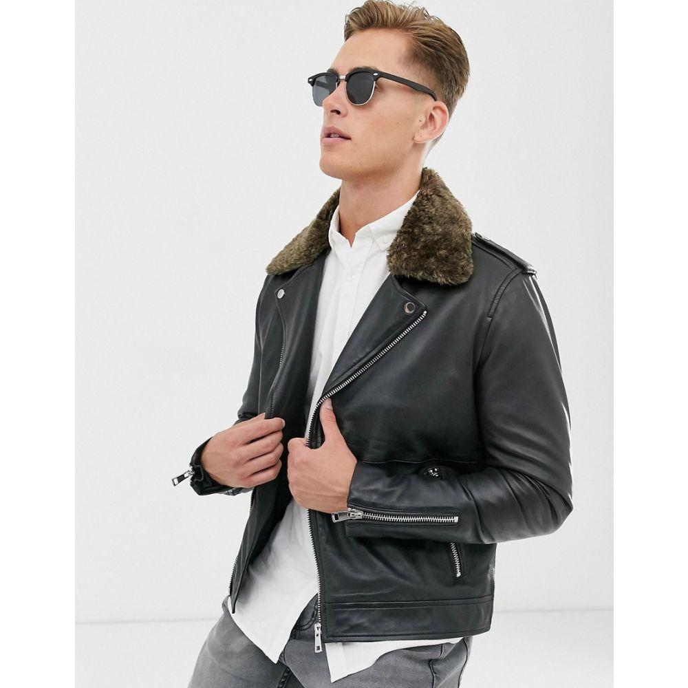 バーニーズ オリジナル Barneys Originals メンズ レザージャケット アウター【real leather biker with removable teddy collar】Black