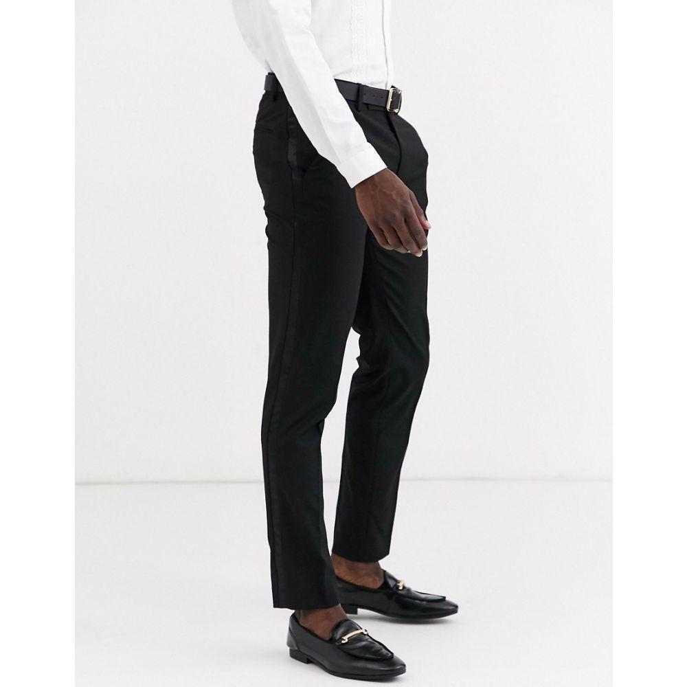 エイソス ASOS DESIGN メンズ スラックス タキシード ボトムス・パンツ【skinny tuxedo suit trousers in black】Black