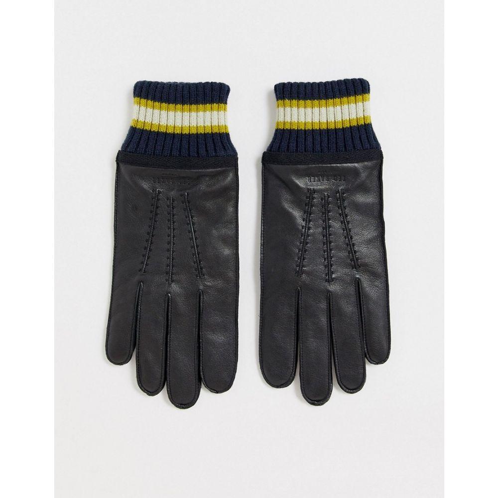 テッドベーカー Ted Baker メンズ 手袋・グローブ 【Forchet leather gloves with ribbed cuff in black】Black