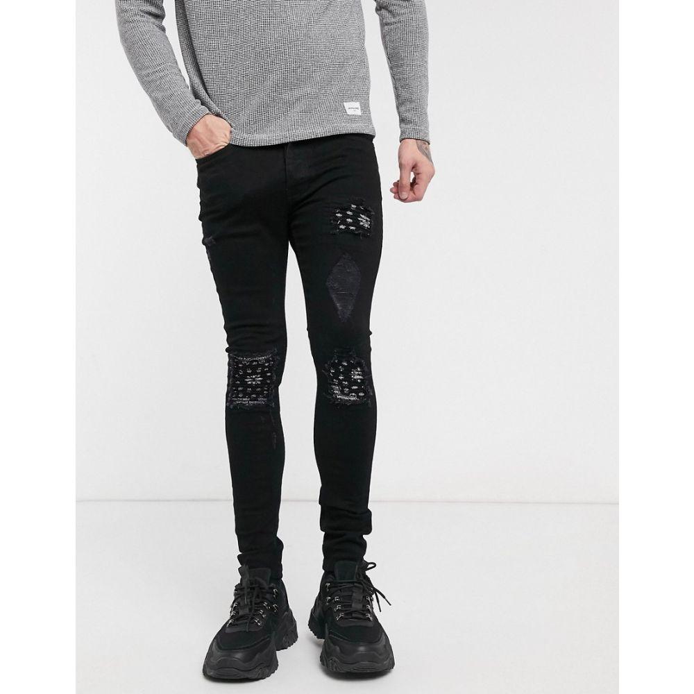 ブーフー boohooMAN メンズ ジーンズ・デニム ボトムス・パンツ【bandana rip and repair skinny fit jeans in black】Denim black