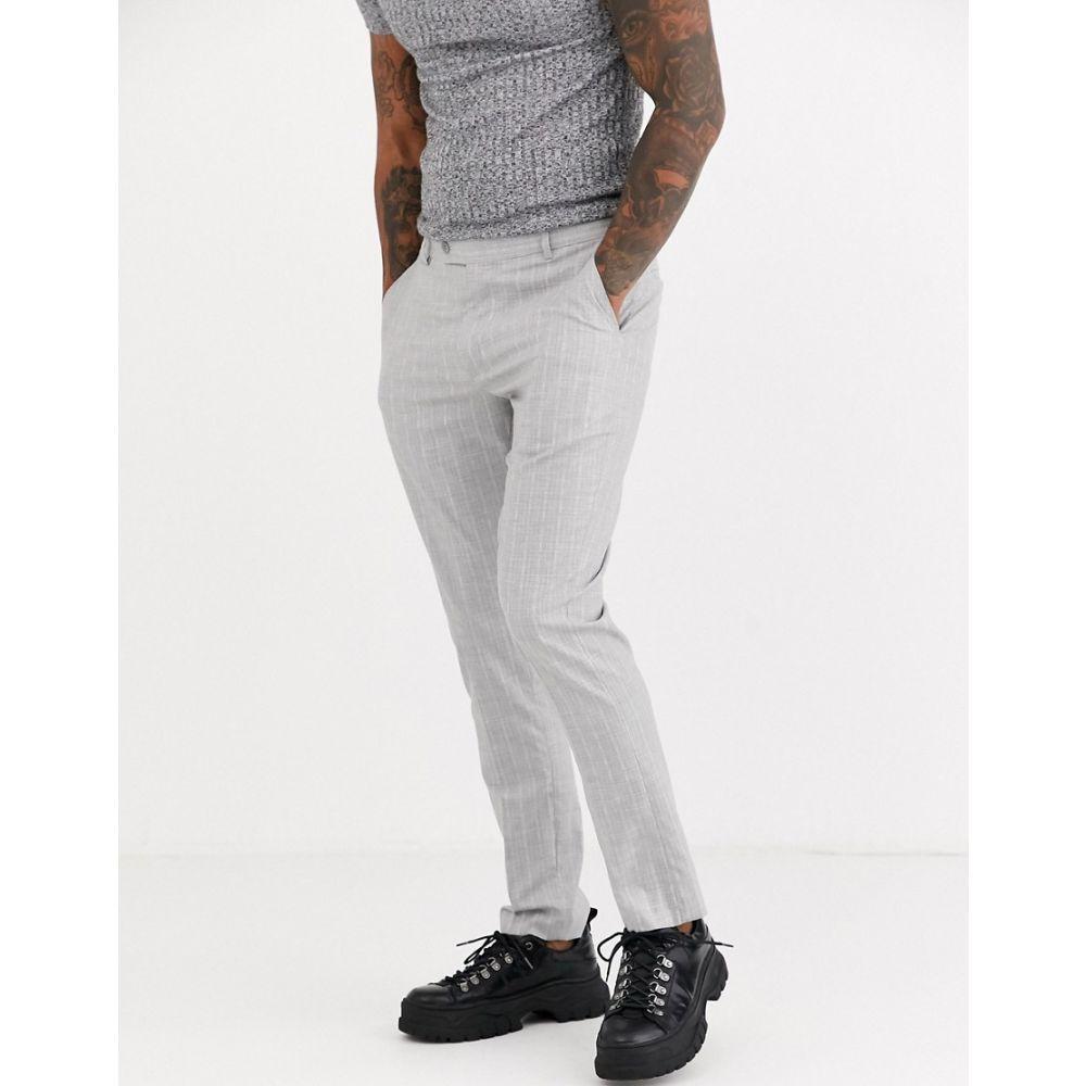 ブーフー boohooMAN メンズ スラックス ボトムス・パンツ【pinstripe skinny fit suit trouser in grey】Grey