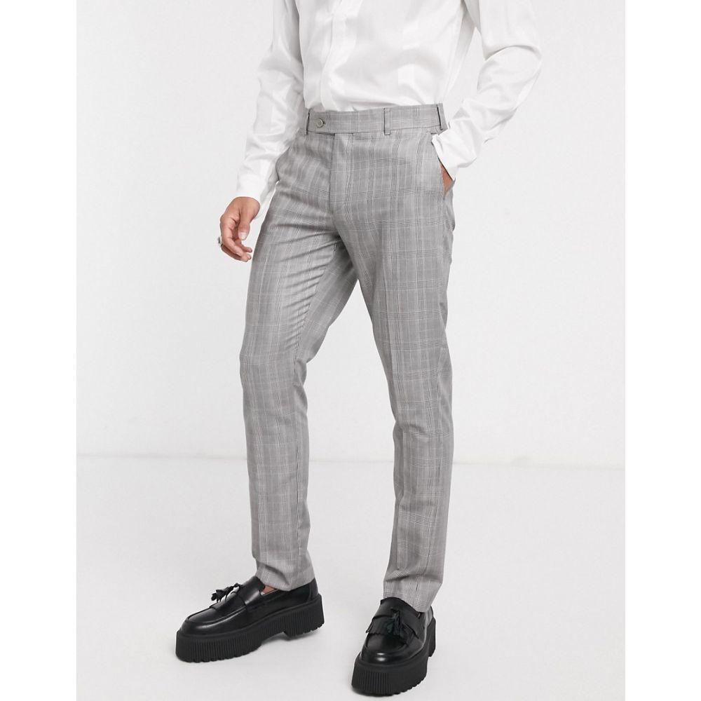 ブーフー boohooMAN メンズ スラックス ボトムス・パンツ【check skinny fit suit trouser in grey】Grey
