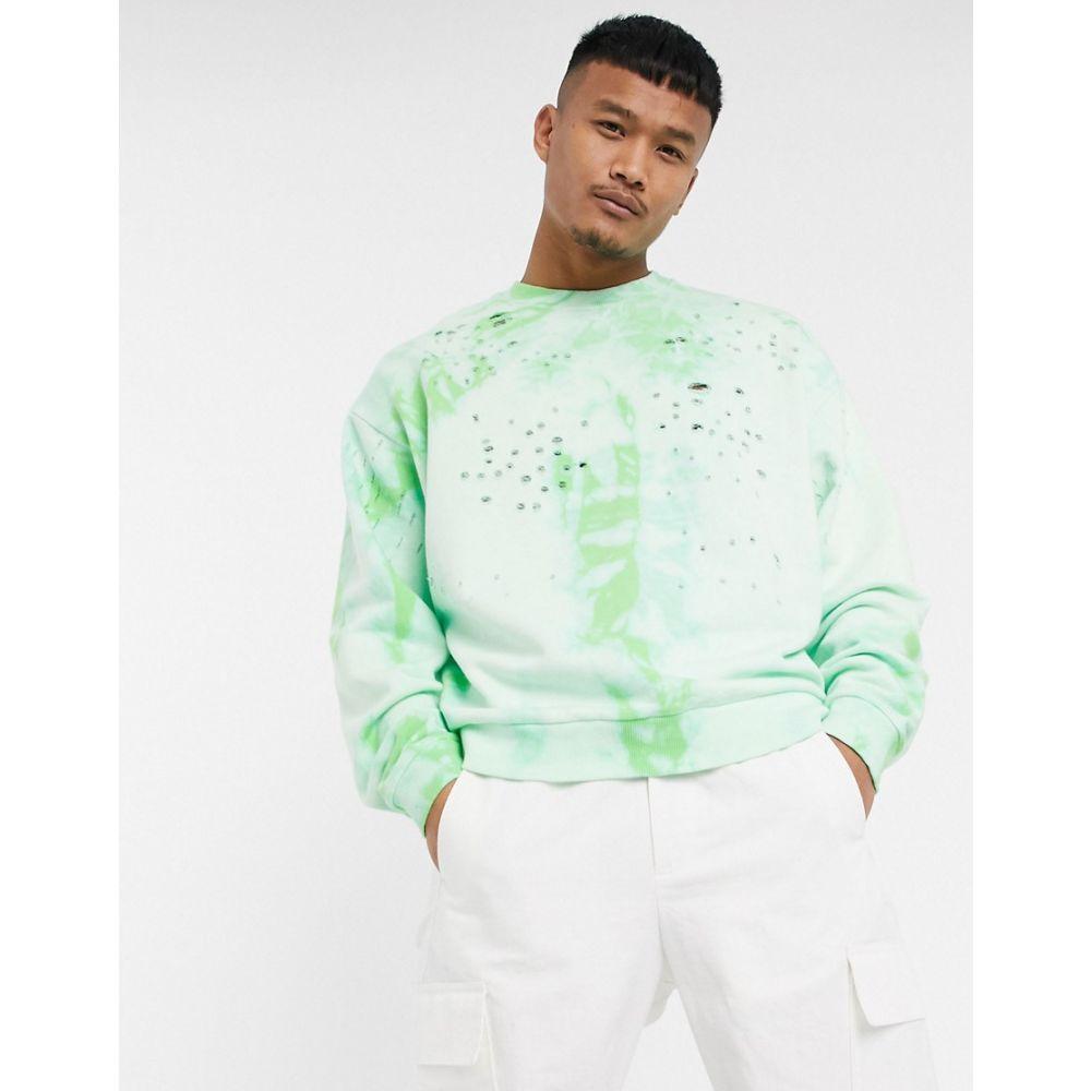 エイソス ASOS DESIGN メンズ スウェット・トレーナー トップス【oversized sweatshirt in acid wash with distressing】Green ash
