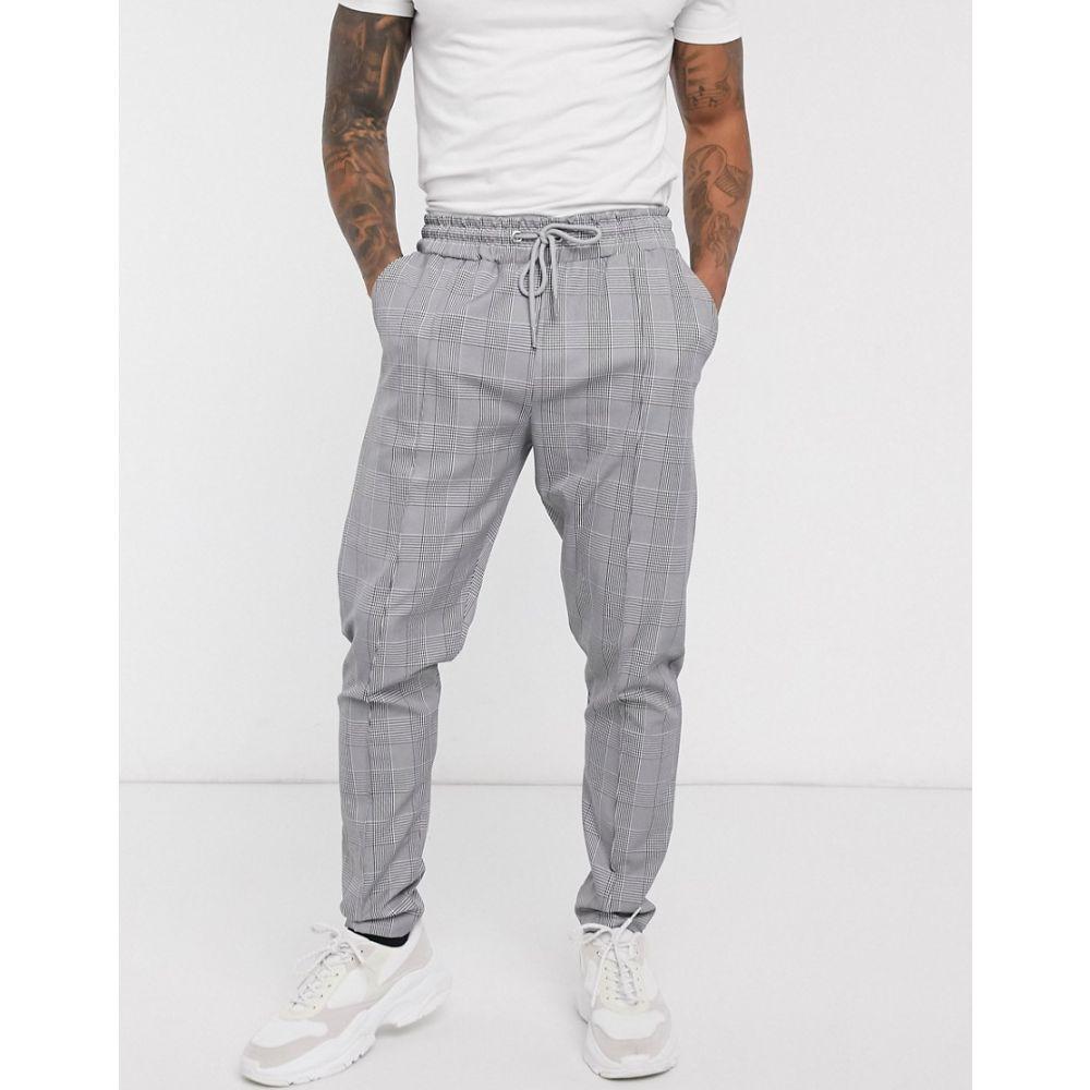 ブーフー boohooMAN メンズ ジョガーパンツ ボトムス・パンツ【Prince Of Wales smart pintuck joggers in grey】Grey